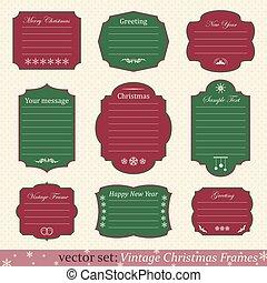Vector set of vintage christmas frames