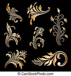 Vector set of vintage decorative elements. - Vector set of...