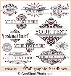 Vector set of vintage design elements.