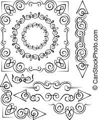 Vector set of vintage elements for design