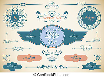 Vector set of vintage framed labels 0009