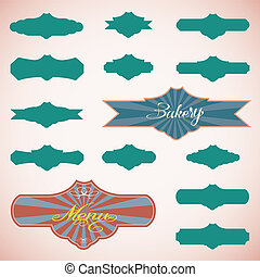 Vector set of vintage framed labels 0011
