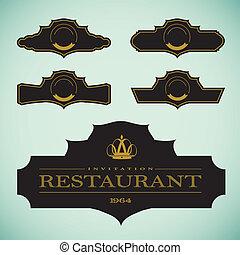 Vector set of vintage framed labels