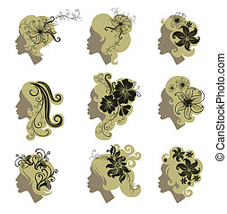 Vector set of vintage girls hair with flowers (from my big...