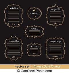Vector set of vintage gold frames