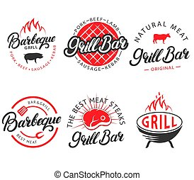 Vector set of vintage grill bar bbq labels emblems