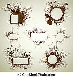 grunge frames with Autumn Leafs. Th - Vector set of vintage...