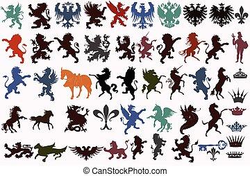 Vector set of vintage heraldic elem - Set of vector heraldic...