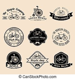 Vector set of vintage hipster bicycle logo. Modern bike badges or emblems collection.