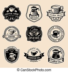 Vector set of vintage hipster coffee logos. Modern cafe shop, restaurant icons, emblems collection.