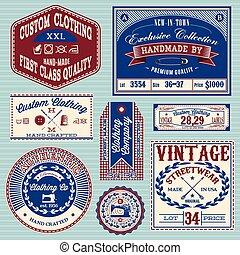 vector set of vintage labels for clothes