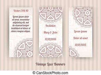 vector set of vintage lace banners