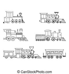 Vector Set of vintage locomotives on a white background.