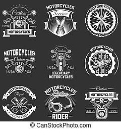 Vector set of vintage motorcycle service labels
