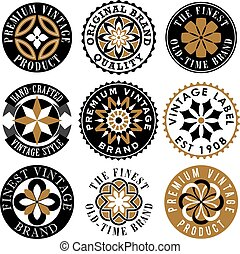 Vector set of Vintage Ornamental Labels