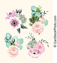 Vector set of vintage pastel flowers and leaves