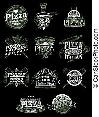 Vector set of vintage pizza emblems, logos, badges and labels