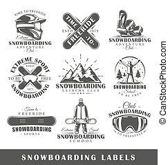Vector set of vintage snowboarding labels