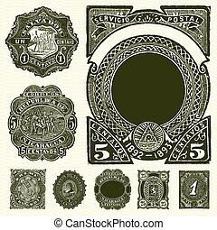 Set of vintage distressed stamp and label illustrations. Easy to change colors.