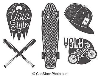 Vector set of vintage sport labels, emblems, logo. Yolo lettering and typography. Skateboard, baseball bat, rap cap, bicycle