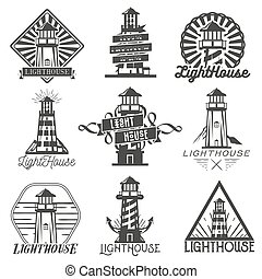 Vector set of vintage style lighthouses. Isolated logos, badges, emblems, icons or labels in monochrome