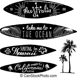 Vector set of vintage surfing logos and t-shirts prints. Take me to the ocean, Australia, California, Hawaii posters.