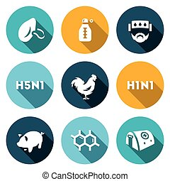 Vector Set of Virus Icons. Respiratory, Thermometer, Sick,...