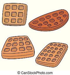 vector set of waffle