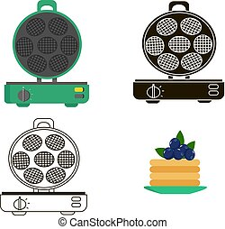 Vector set of waffles iron. Icon drawing on a white background.