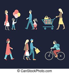 Vector set of walking and shopping people icons in trendy flat style. Collection of different man, woman, child images.