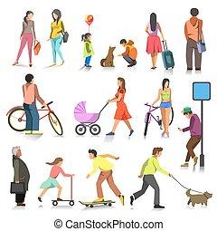 Vector set of walking people.