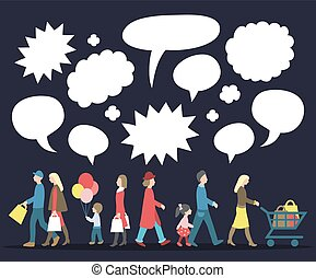 Vector set of walking people with speech bubbles in flat style. Illustrations collection of different men on the move.