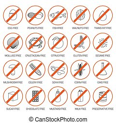 Vector set of warning labels for food allergens, gluten,...