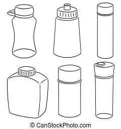 vector set of water bottle
