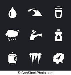 Vector Set of Water Icons. - Drop, wave, glass, cloud,...