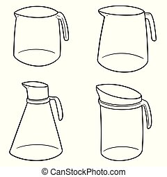 vector set of water pitcher
