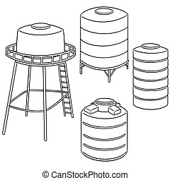 vector set of water storage tank