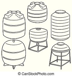 vector set of water storage tanks