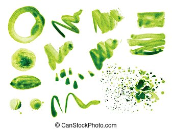 Vector set of watercolor splashes on a white background