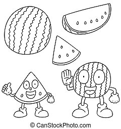 vector set of watermelon