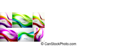 Vector set of wave backgrounds - Set of abstract wave...