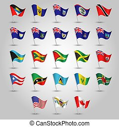 vector set of waving flags anglo american on silver pole - icon of states united states of america, canada and other