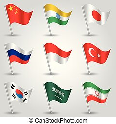 vector set of waving flags countries with largest economies on silver pole - icon of states china, india, japan, russia, indonesia, turkey, south korea, saudi arabia, iran
