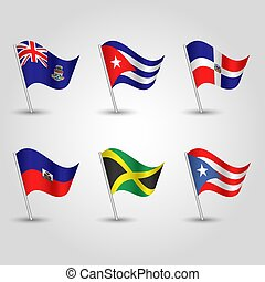 vector set of waving flags greater antilles on silver pole - icon of states cayman islands, cuba, dominican republic, haiti, jamaica and puerto rico