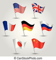 vector set of waving flags seven great power states on silver pole - icon of usa, uk, france, germany, russia, japan and china - american, british, french, german, russian, japanese and chinese symbol