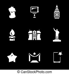 Vector Set of Wax figure show Icons. - Body, selfie, tower,...