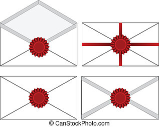 Vector set of wax sealed envelopes.