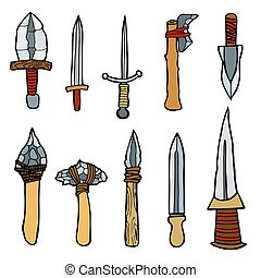 Vector set of weapons.