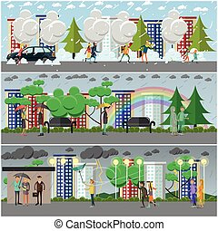 Vector set of weather concept posters, banners in flat style