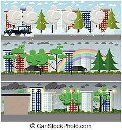 Vector set of weather posters, banners in flat style -...